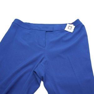 Anne Klein Pants - Anne Klein Womens Blue Crepe Straight Leg Pants Tr